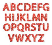 Luxury festive Red glitter sparkling alphabet letters. Ideal for sale, shop, present, gift, header, wedding, holiday, voucher, sparkle design etc Royalty Free Stock Photos