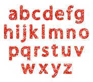 Luxury festive Red glitter sparkling alphabet letters. Ideal for sale, shop, present, gift, header, wedding, holiday, voucher, sparkle design etc Stock Image