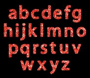 Luxury festive Red glitter sparkling alphabet letters. Ideal for sale, shop, present, gift, header, wedding, holiday, voucher, sparkle design etc Royalty Free Stock Image
