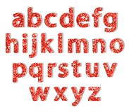 Luxury festive Red glitter sparkling alphabet letters. Ideal for sale, shop, present, gift, header, wedding, holiday, voucher, sparkle design etc Stock Photos