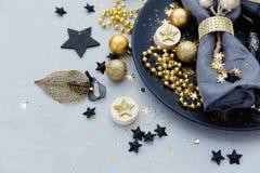 Luxury festive table setting before dinner. Luxury festive table setting, blue tones Stock Image