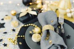 Luxury festive table setting before dinner. Luxury festive table setting with gold decor Stock Photography