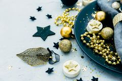 Luxury festive table setting. With gold decorations Royalty Free Stock Images