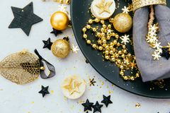 Luxury festive table setting. In gold tones royalty free stock photography