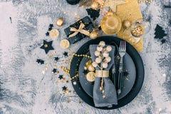 Luxury festive table setting before dinner. Luxury festive table setting. top view Royalty Free Stock Photo