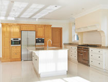 Luxury Fitted Kitchen In House Stock Image