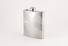 Luxury flask. Chrome flask with design. For drinking alcohol, whisky. Suitable for e-commerce website or graphic design stock photo