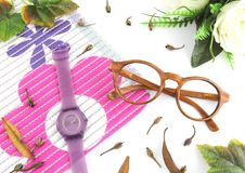 Luxury Flat Lay Eyewear & Watches with White Background royalty free stock images
