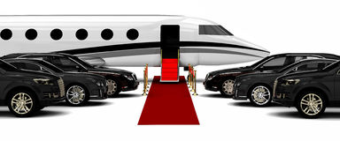 Luxury Fleet with a red carpet and a private jet Stock Image