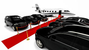 Luxury Fleet with a red carpet and a private jet Stock Photos