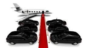 Luxury Fleet with a red carpet and a private jet Stock Photography