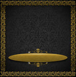 Luxury Floral Black and Gold Velvet Background Stock Photos