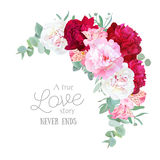 Luxury Floral Crescent Vector Frame With Peony, Alstroemeria Lily, Mint Eucaliptus And Ranunculus Leaves On White Stock Photos