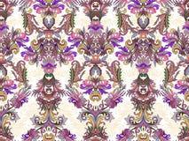 Luxury floral damask wallpaper. Seamless pattern background. Vector illustration. Lilac tone ornate pattern on white backdrop royalty free illustration