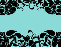 Luxury floral frame with turquoise background Stock Photos