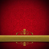 Luxury Floral Red and Gold Velvet Background Royalty Free Stock Image