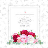 Luxury floral vector design square frame. Peony, alstroemeria lily, eucaliptus. Pink, white and burgundy red flowers. All elements are isolated and editable Royalty Free Stock Images