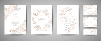 Luxury Flower Vintage Wedding Save the Date, Invitation Floral Cards Collection with Gold Foil Frame. trendy cover, graphic poster stock illustration