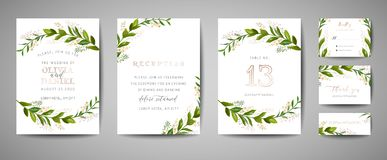 Luxury Flower Vintage Wedding Save the Date, Invitation Floral Cards Collection with Gold Foil Frame. Vector trendy cover, graphic. Poster, retro brochure stock illustration