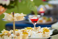 The Luxury food and drinks on wedding table. Luxury food and drinks on wedding table stock image