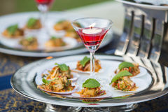 The Luxury food and drinks on wedding table. Luxury food and drinks on wedding table stock photo