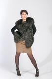 In Luxury Fur Coat Stock Photography