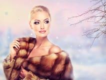 Luxury Fur Coat. Winter Woman in Luxury Fur Coat. Beauty Fashion Model Girl Stock Photo