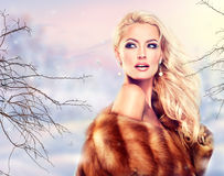 Luxury Fur Coat. Winter Woman in Luxury Fur Coat. Beauty Fashion Model Girl Stock Photos