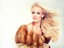 Luxury Fur Coat. Winter Woman in Luxury Fur Coat. Beauty Fashion Model Girl Stock Photos