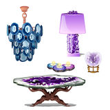 Luxury furniture interior decor of amethyst Stock Photos
