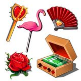 Luxury gambling set - playing cards, ladys fan, rose red, lollipop flamingo and Golden scepter. Five icons isolated Royalty Free Stock Photo