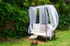 Luxury garden furniture at green yard Stock Image