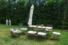 Luxury garden furniture at green yard Stock Photo