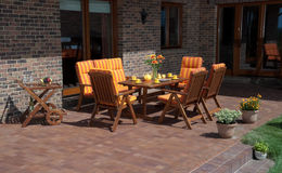 Luxury Garden furniture. At the patio Stock Photography