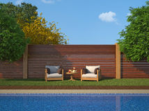 Luxury garden with swimming pool Royalty Free Stock Image