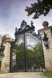 """Luxury Gate to Gilded Age Mansions: The Breakers. The Breakers mansion on Ochre Point in Newport, Rhode Island. This mansion was the summer residence """" stock image"""