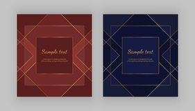 Luxury geometric design. Golden lines on the red, blue background. Modern templates for product package, menu, banner, card, flyer. Invitation, brochure, print royalty free illustration