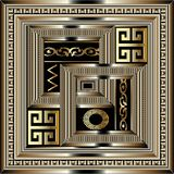 Luxury geometric greek key panel pattern. Square gold 3d meander. S ornament with figured surface frame, baroque borders, circles, zigzag, shapes. Modern design Stock Images