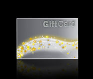 Luxury gift acrd with silver background and gold stars Royalty Free Stock Image