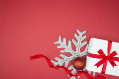 Luxury gift box for holiday event silk wrap snowflake ball Stock Image