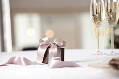 Luxury gift box on table. Royalty Free Stock Image