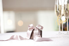 Luxury gift box on table. Royalty Free Stock Photo