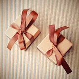 Luxury gift boxes with ribbon, retro effect Royalty Free Stock Photography