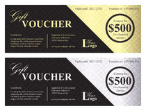 Luxury gift voucher with gold and silver ornamenta Stock Photo