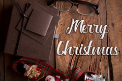 Luxury gifts box on wood table with word merry christmas Stock Photography