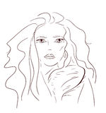 Luxury girl. Graphic vector illustration girl contours Royalty Free Stock Image