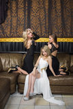 Luxury girls in evening dresses in beautiful Stock Images