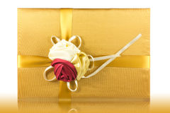 Luxury give box. Image luxury gold give box Royalty Free Stock Images