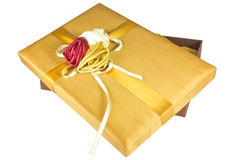 Luxury give box. Image luxury gold give box Stock Photo