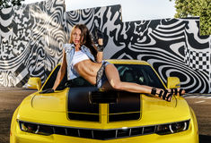 Luxury glamour girl and yellow sport car Stock Photo